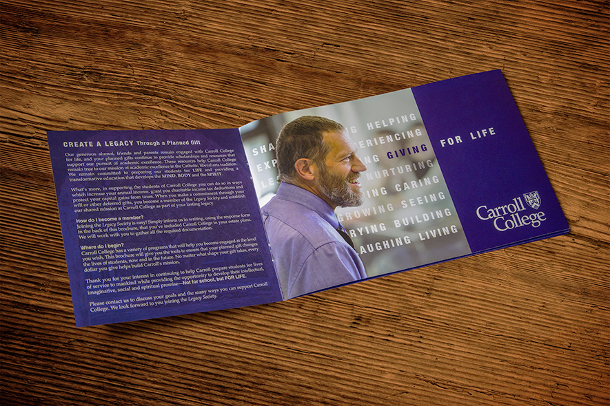 Carroll College Welcome Booklet_Inside Cover_Man in purple shirt smiling