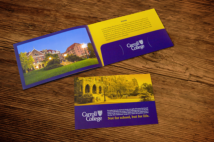 Carroll College Welcome Booklet_Folder And Insert_Print Materials Example