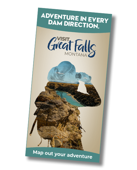 Great Falls Montana Tourism_Vertical Banner Ad_Woman looking through binoculars at scenery