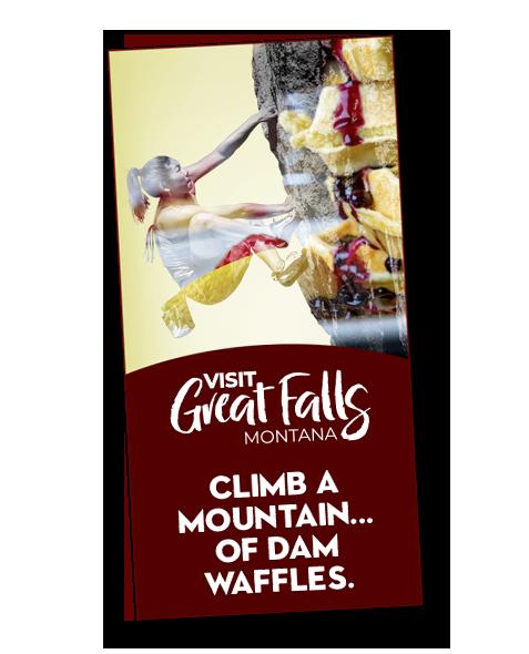 Great Falls Montana Tourism_Vertical Banner Ad_Woman Rock Climbing